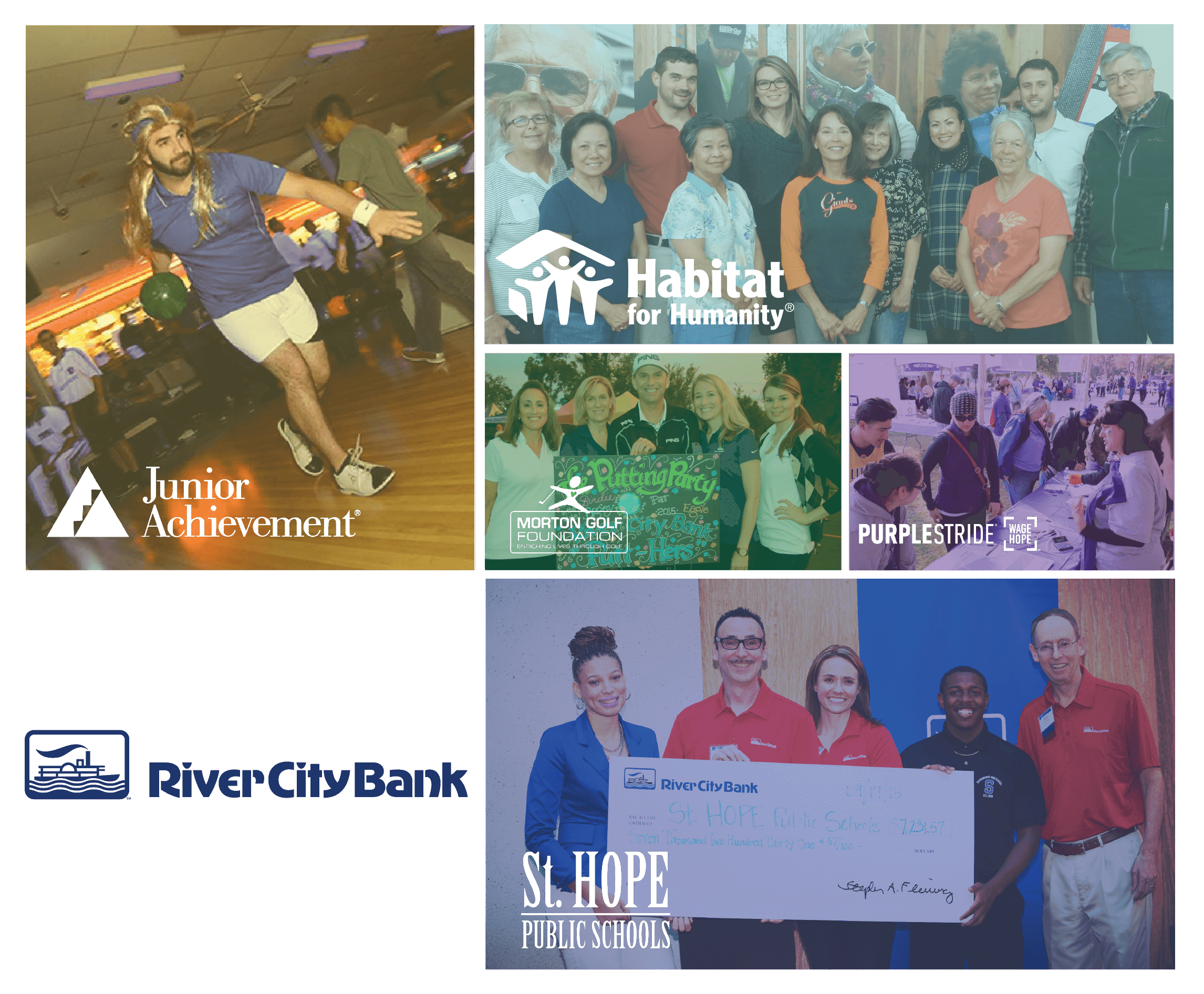 Photos of River City Bank in the community.