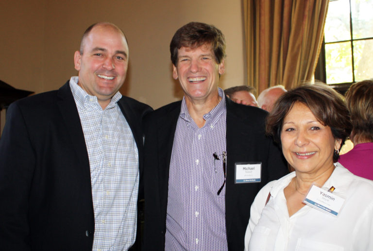Photo of Eric Johnson, Mike Newell, and Yasmin Seyal