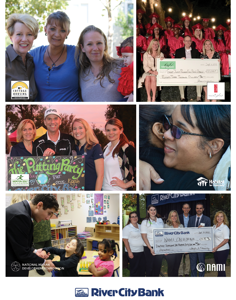 Photo montage of River City Bank Community Service events