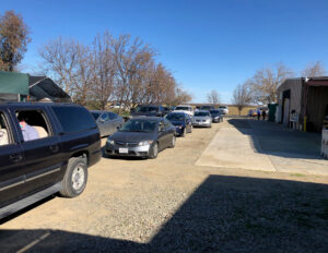Cars lined up for vaccine