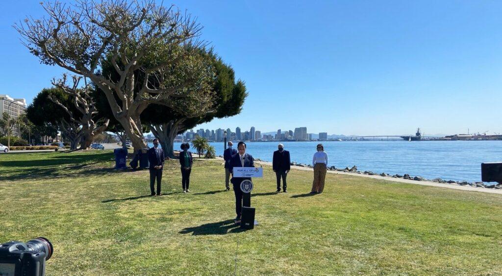 San Diego Mayor Todd Gloria and SDCP Executives